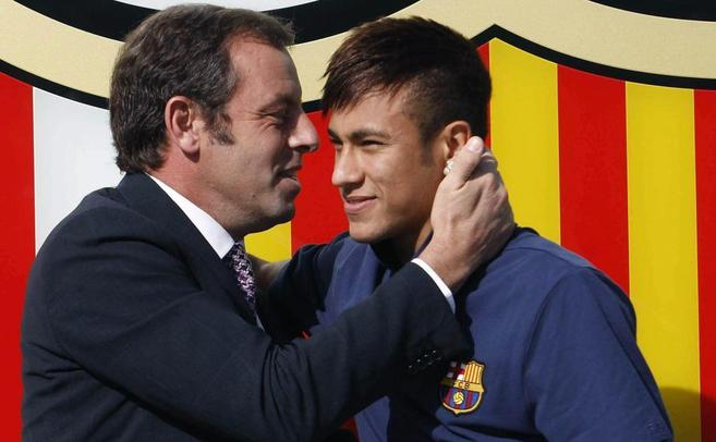 Sandro Rosell y Neymar.