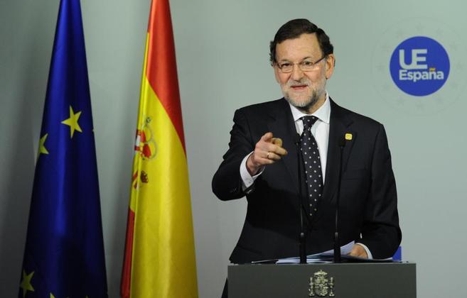 El presidente del Gobierno, Mariano Rajoy, en la rueda de prensa...