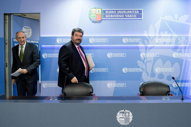 Josu Erkoreka y Juan María Aburto, esta mañana en rueda de prensa.