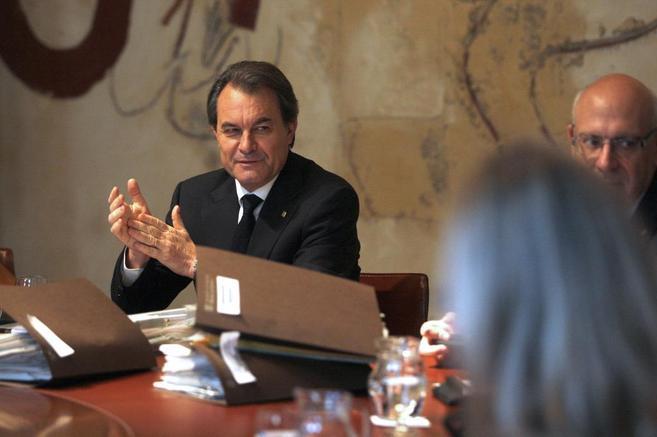 El 'president' Artur Mas, este martes en la reunión del...