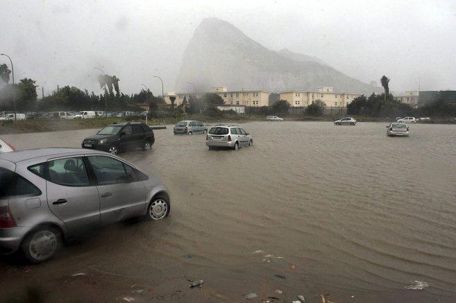 Efectos del temporal en el área de Gibraltar.