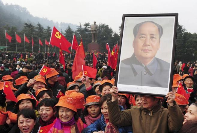 Retrato de Mao Zedong en una de las celebraciones.
