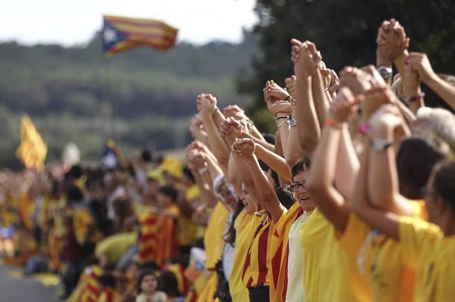 Celebración de la Vía catalana por la independencia en septiembre de...