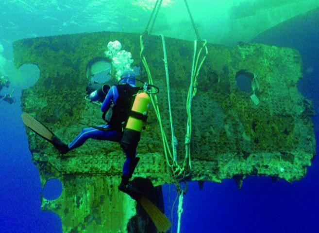 El casco del Titanic tras el hundimiento.