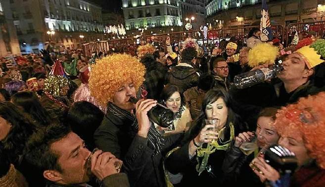 Celebración de Nochevieja en la Puerta del Sol el año pasado.