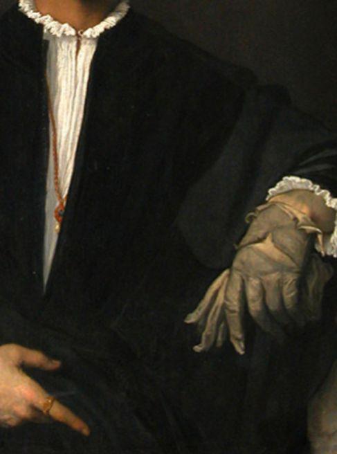 Detalle de 'El hombre del guante', de Tiziano.
