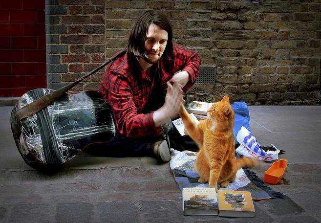James Bowen y su gato Bob, en las calles de Londres.