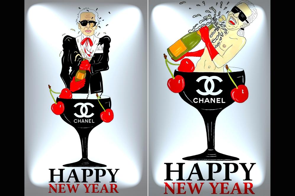 Con una escena más propia de un show de Dita Von Teese, pero en esta ocasión cambiando las copas de Cointreau por unas firmadas por Chanel, el artista italiano baña con Champagnea a Karl y Anna, quienes en ningún momento, y para no faltar a la tradición, se desprenden de sus famosas gafas,