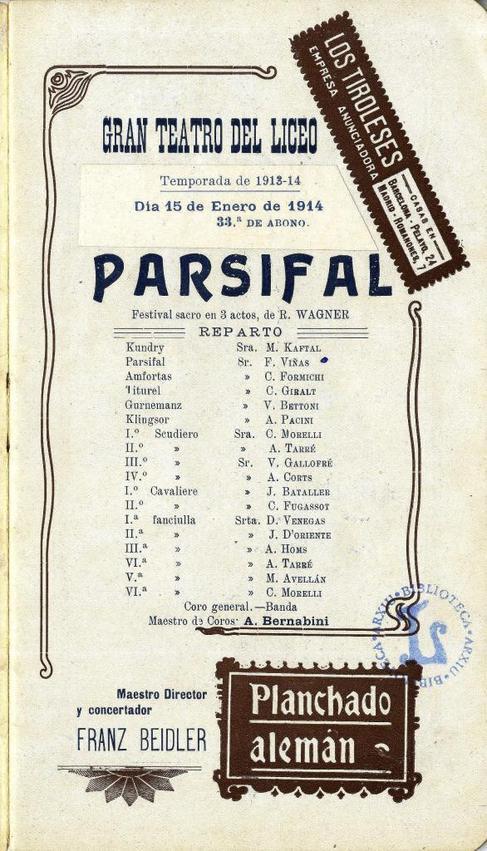 Cartel del 'Parsifal' de enero de 1914, en el Gran Liceo de...