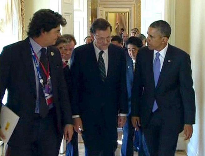 Rajoy y Obama conversan antes de acceder a la cumbre del G20 el pasado...