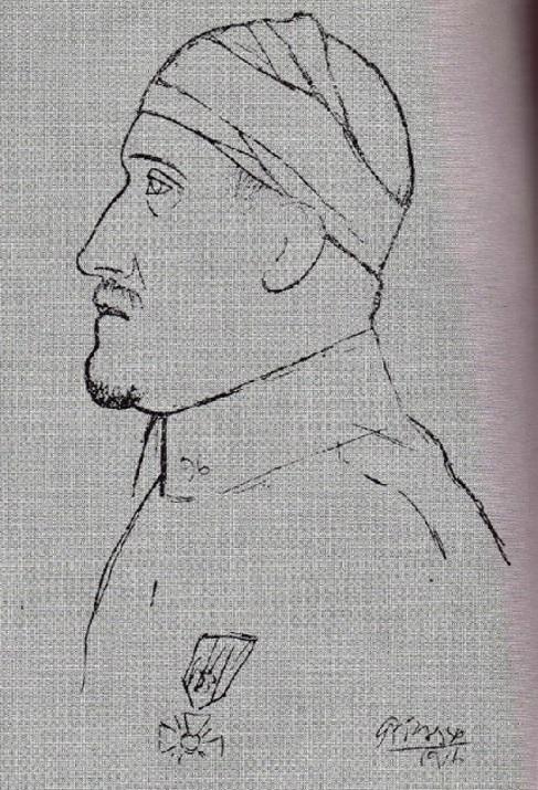 Retrato de Apollinaire, obra dePicasso de 1916.