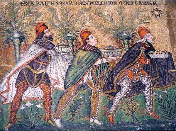 Los Reyes siguiendo la Estrella. Mosaico en San Apolonio, Ravena.