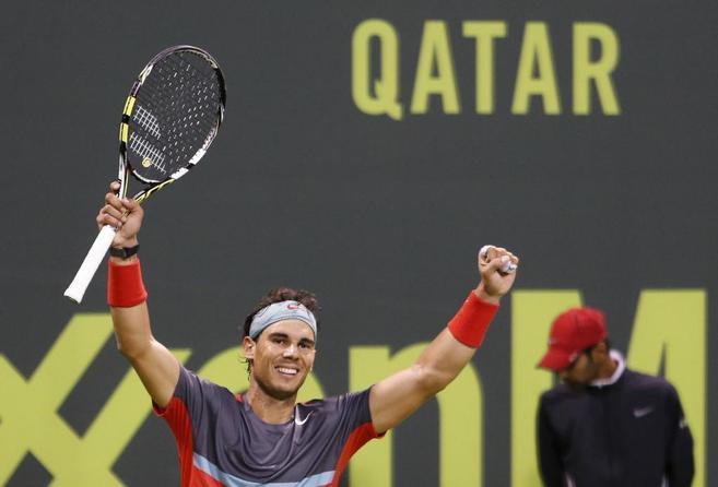 Rafael Nadal tras proclamarse campeón en Doha.