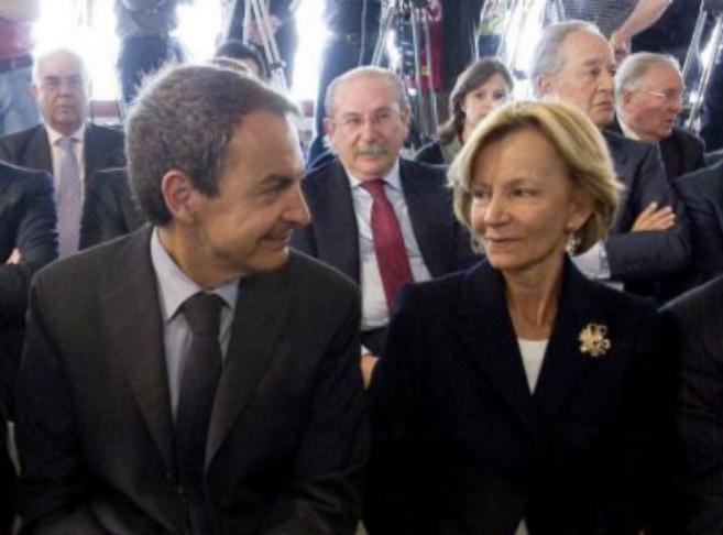 José Luis Rodríguez Zapatero junto a Elena Salgado y el ex...