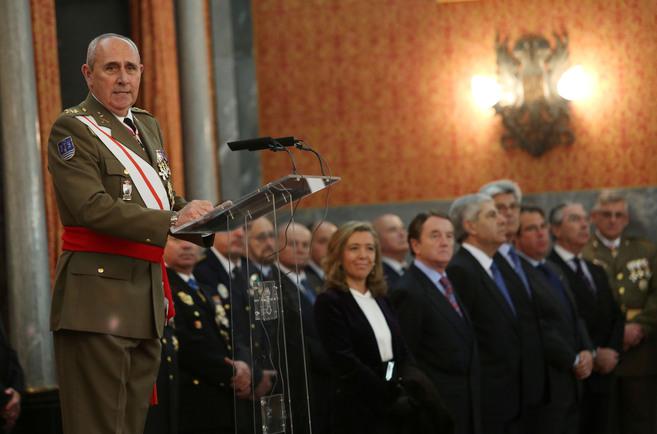 El jefe de la Fuerza Terrestre, José Ignacio Medina, durante su...