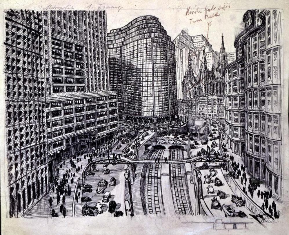 Dibujo de Fritz Lang para el guión de 'Metrópolis'.