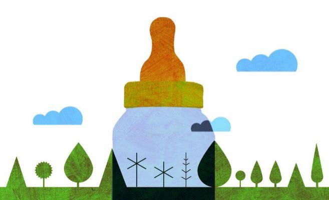 Una ilustración de un biberón entre árboles