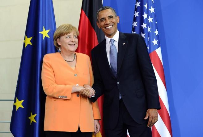 La canciller alemana, Angela Merkel, y el presidente de EEUU, Barack...