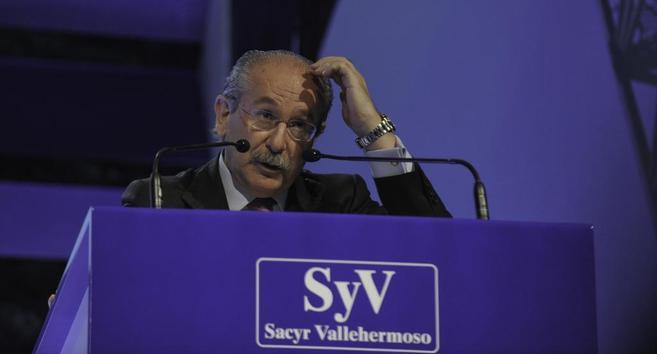 Luis del Rivero, en una junta de Accionistas de Sacyr.