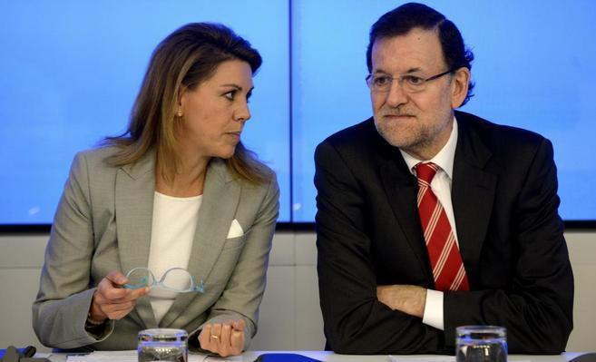 María Dolores de Cospedal y Mariano Rajoy, en la reunión del Comité...