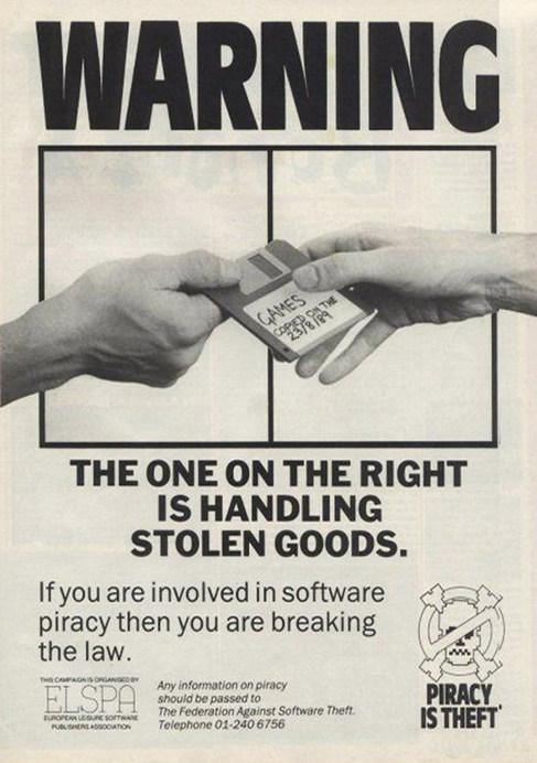 Anuncio contra la 'piratería' de los años 80.