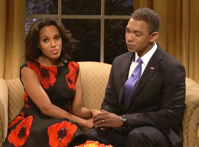 Kerry Washington, interpretando a Michelle Obama durante su visita a...