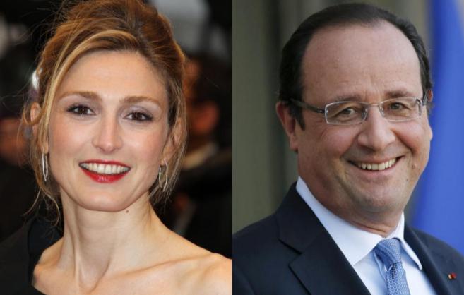 Imagen de la actriz Julie Gayet (izq.), con la que Hollande (dcha.)...