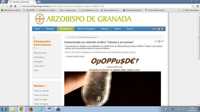 La página web del Arzobispado de Granada, pirateada por el colectivo...