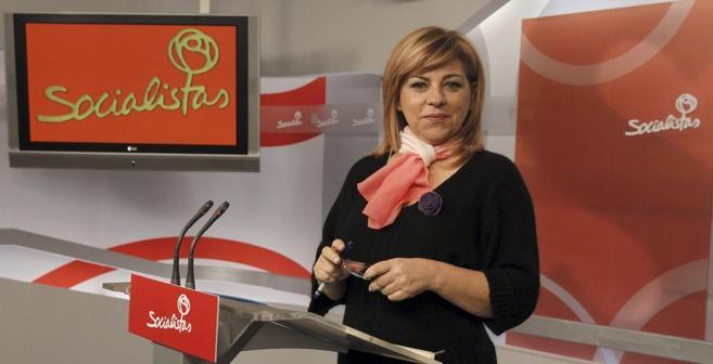 Elena Valenciano, durante una intervención en la sede del PSOE