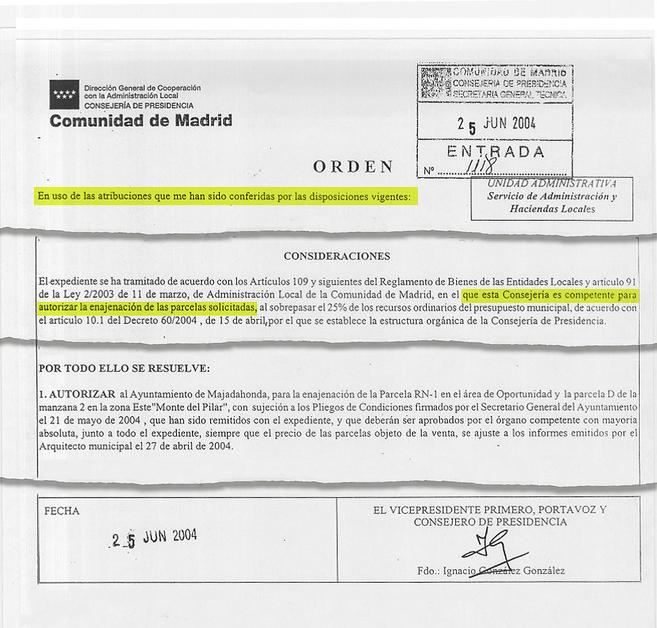 Orden de Ignacio González de junio de 2004, que autoriza la venta de...