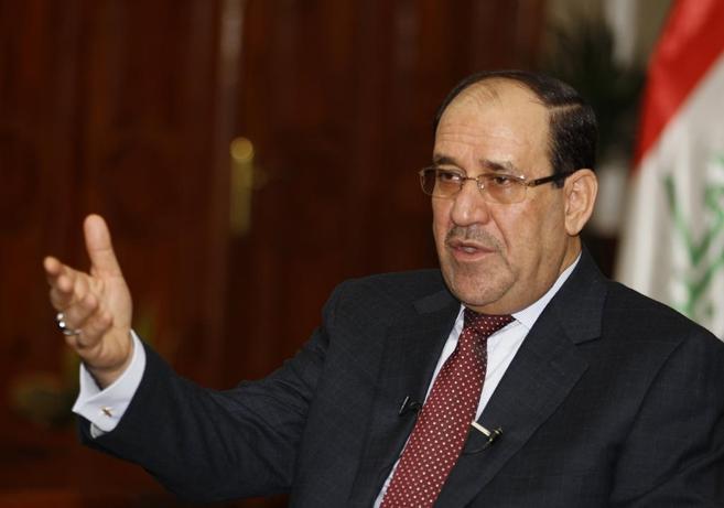 El primer ministro iraquí, Nuri Maliki, durante una entrevista en...