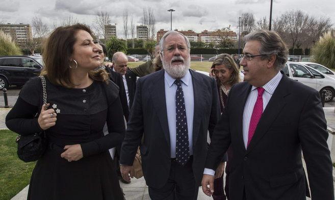 Carmen Crespo, Miguel Arias Cañete y Juan Ignacio Zoido, este jueves...