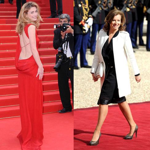 Julie Gayet (i), la amante de Hollande y Valérie Trierweiler (d), su...