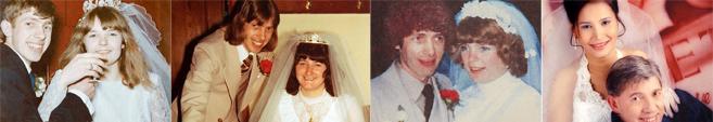 (De izda. a dcha.): Su primera esposa, Margaret (1966); la 3ª, Lesley...