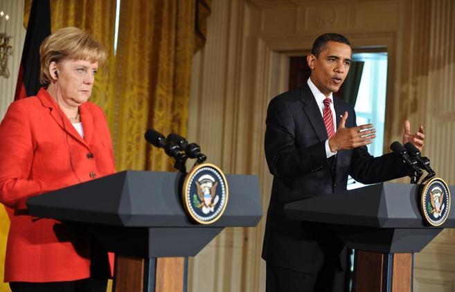 Barack Obama y Angela Merkel durante una visita de la canciller aleman...