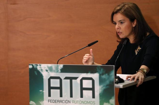 Soraya Sáenz de Santamaría, durante su intervención ante la ATA.