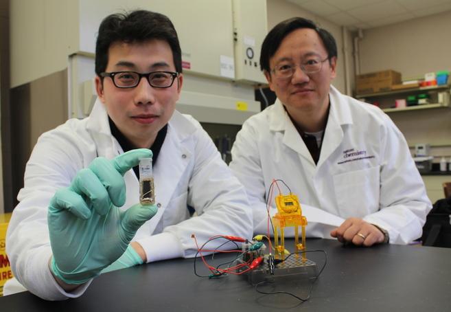 Percival Zhang (dcha.) y Zhiguang Zhu muestran su batería de azúcar.