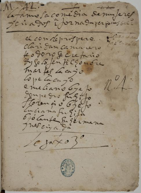 Primera página del manuscrito de 'Mujeres y criados'...