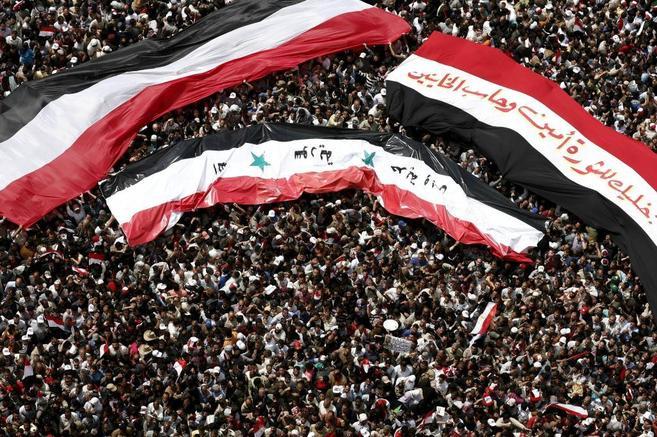 Manifestantes en la plaza Tahrir de El Cairo, durante las revolución...