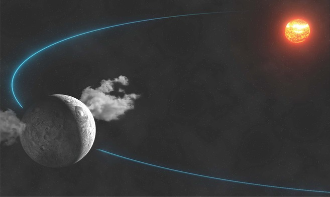 Recreación aristica del planeta enano Ceres, rodeado de vapor de...