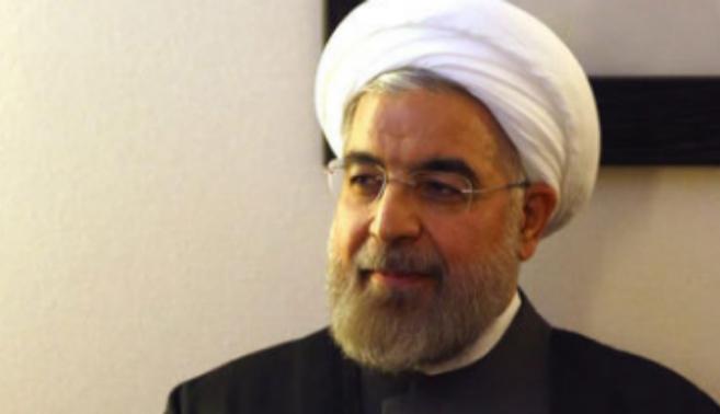 El presidente iraní, Hasán Rohani, a su llegada al Foro Económico...