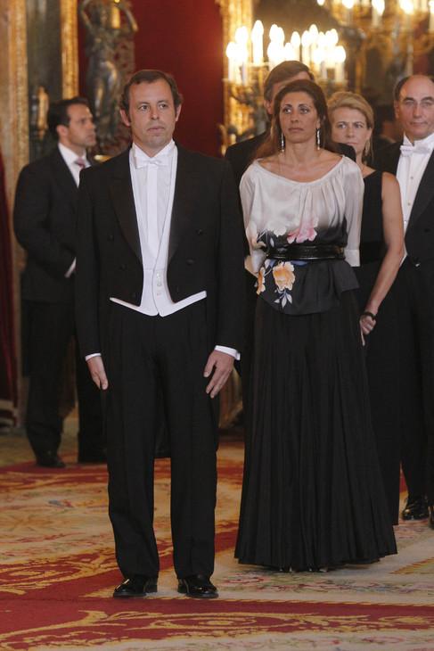 Sandro Rosell y Marta Pineda en una recepción oficial al Emir de...