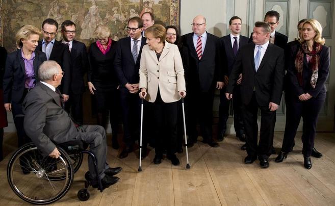 La canciller alemana, Angela Merkel, durante la reunión celebrada con...