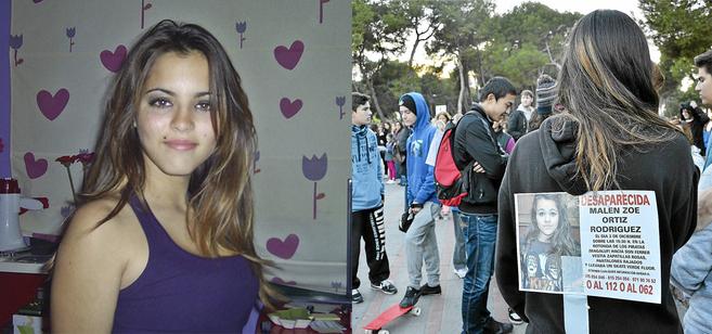 La joven fallecida Nora Ayala (d) y uno de los carteles con la foto de...