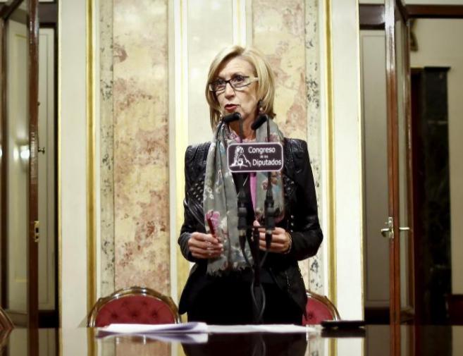 Rosa Diez en el Congreso de los Diputados tras anunciar que UPyD ha...