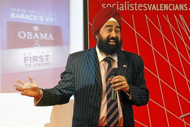 Ravi Singh, en un acto del PSOE valenciano.