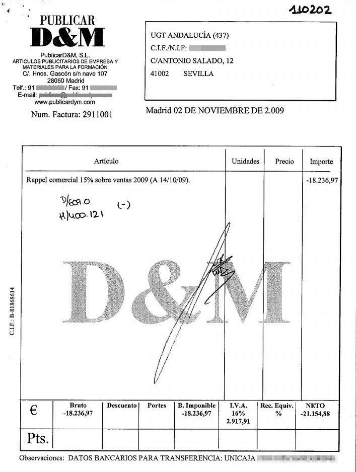 Ésta es la factura emitida por Publicar D&M que evidencia el...