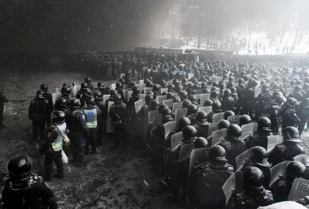 Policía desplegada en Kiev el pasado día 23 de enero.