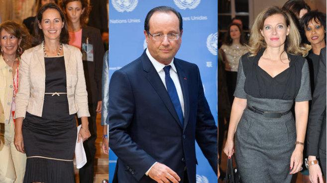 Ségolène Royal, ex pareja de François Hollande (i), el presidente...