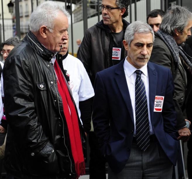Gaspar Llamazares y Cayo Lara en el Congreso de los Diputados.
